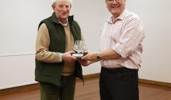 Ian presented with trophy by David Burgess